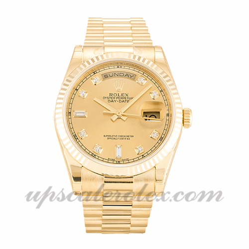 Mens Rolex Day,date 118238 36 MM Case Automatic Movement Champagne Diamond  Dial