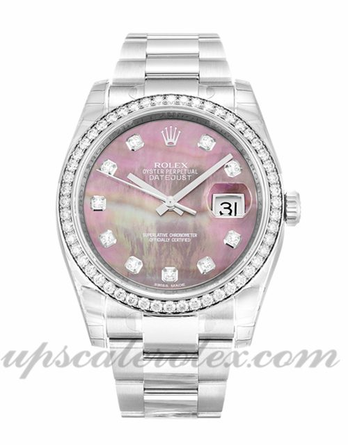 Ladies Rolex Datejust 116244 36 MM Case Automatic Movement Mother of Pearl - Black Diamond Dial