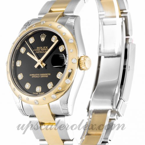 Unisex Rolex Mid-Size Datejust 178343 31 MM Case Automatic Movement Black Diamond Dial