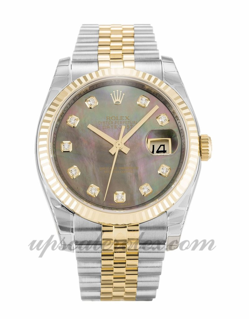 Unisex Rolex Datejust 116233 36 MM Case Automatic Movement Mother of Pearl - Black Diamond Dial