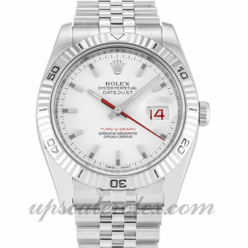 Mens Rolex Turn-O-Graph 116264 36 MM Case Automatic Movement White Dial