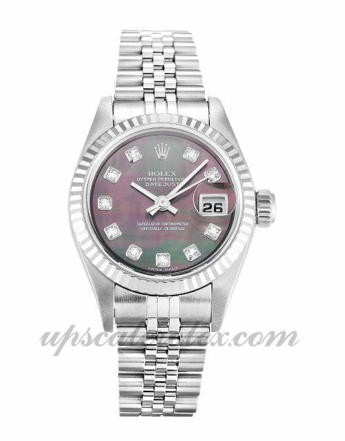 Ladies Rolex Datejust Lady 79174 26 MM Case Automatic Movement Mother of Pearl Black - Diamond Dial