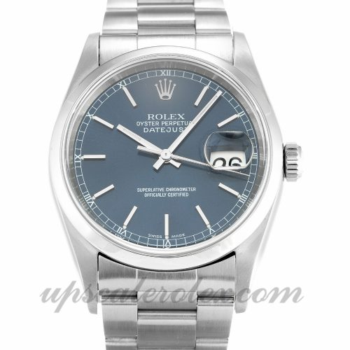 Mens Rolex Datejust 16200 36 MM Case Automatic Movement Blue Dial