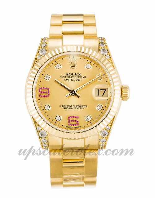 Ladies Rolex Mid-Size Datejust 178238 36 MM Case Automatic Movement Champagne Diamond & Ruby Dial