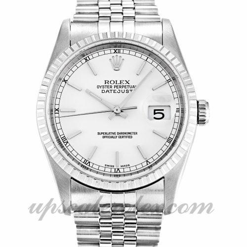 Unisex Rolex Datejust 16220 36 MM Case Automatic Movement White Dial