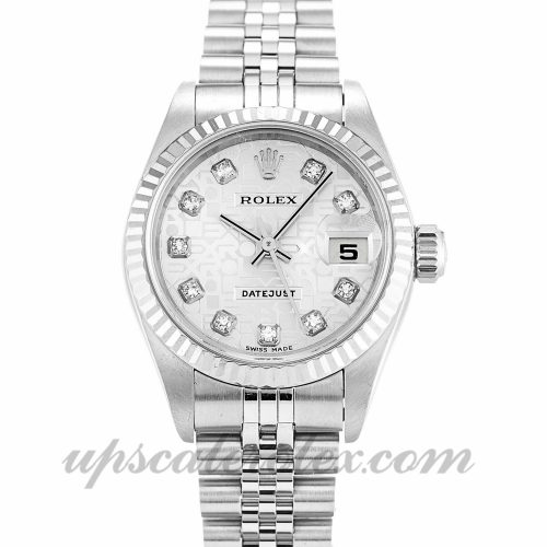 Ladies Rolex Datejust Lady 79174 26 MM Case Automatic Movement Silver Jubilee Diamond Dial