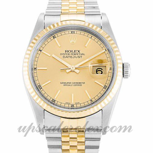 Mens Rolex Datejust 16233 36 MM Case Automatic Movement Champagne Dial