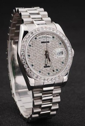Rolex Day-Date stainless steel diamond dial replica watch