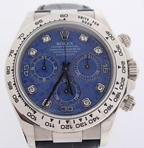 Rolex Daytona stainless steel blue dial diamonds replica watch