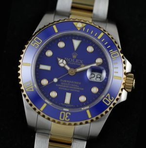 Rolex Submariner two tone yellow gold blue dial replica watch