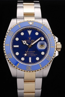 Rolex Submariner yellow gold blue dial replica watch