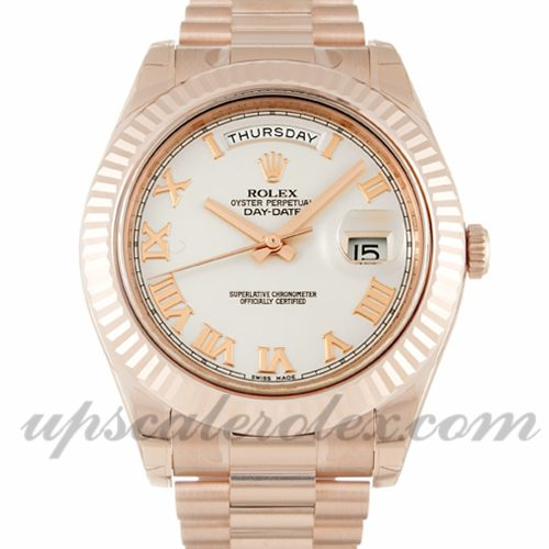 Mens Rolex Day-Date II 218235 41 MM Case Automatic Movement Ivory Dial