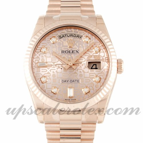 Mens Rolex Day-Date 118235 F 36 MM Case Automatic Movement Rose Gold Diamond (Jubilee) Dial