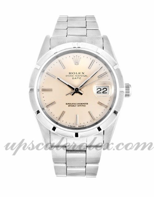 Mens Rolex Oyster Perpetual Date 15210 34 MM Case Automatic Movement Silver Dial