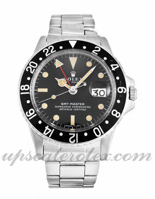 Mens Rolex GMT Master 1675 40 MM Case Automatic Movement Black Dial