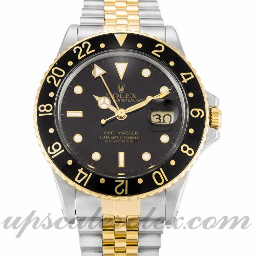 Mens Rolex GMT Master 16753 38 MM Case Automatic Movement Black Dial