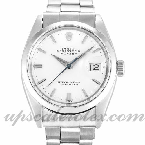 Mens Rolex Oyster Perpetual Date 1500 36 MM Case Automatic Movement Silver Dial