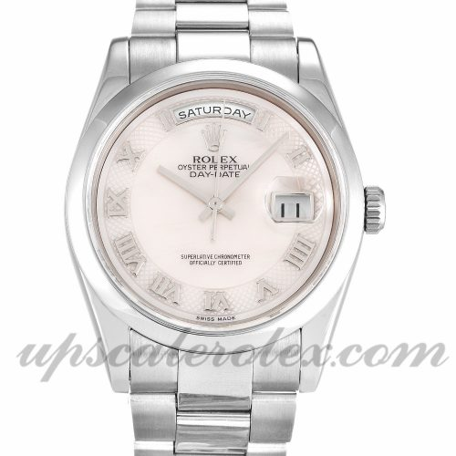 Mens Rolex Day-Date 118209 36 MM Case Automatic Movement Mother of Pearl - White Dial