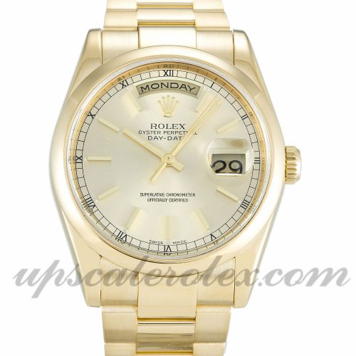 Mens Rolex Day-Date 118208 36 MM Case Automatic Movement Champagne Dial