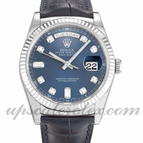 Mens Rolex Day-Date 118139 36 MM Case Automatic Movement Blue Diamond Dial