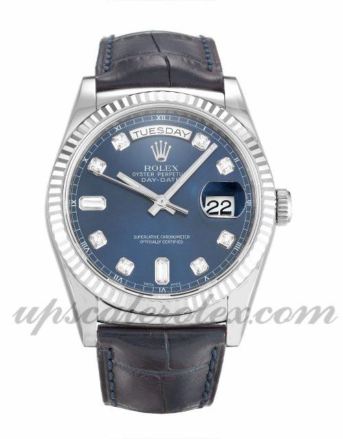 Mens Rolex Day-Date 118139 36 MM Case Automatic Movement Blue Diamond Dial