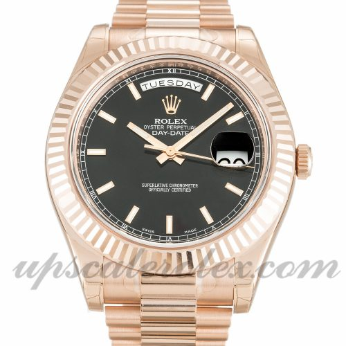 Mens Rolex Day-Date II 218235 41 MM Case Automatic Movement Black Dial