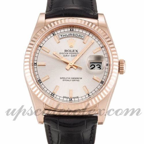 Mens Rolex Day-Date 118135 36 MM Case Automatic Movement Silver Dial