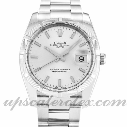 Unisex Rolex Oyster Perpetual Date 115210 34 MM Case Automatic Movement Silver Dial
