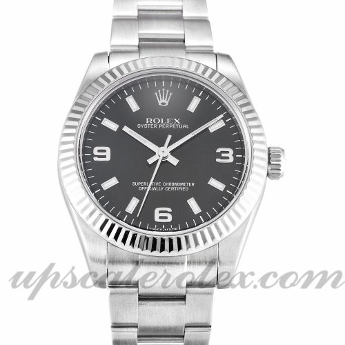 Ladies Rolex Lady Oyster Perpetual 177234 31 MM Case Automatic Movement Black Quarter Dial
