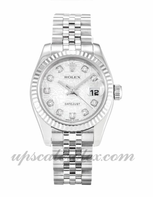 Ladies Rolex Datejust Lady 179174 26 MM Case Automatic Movement Silver Jubilee Diamond Dial