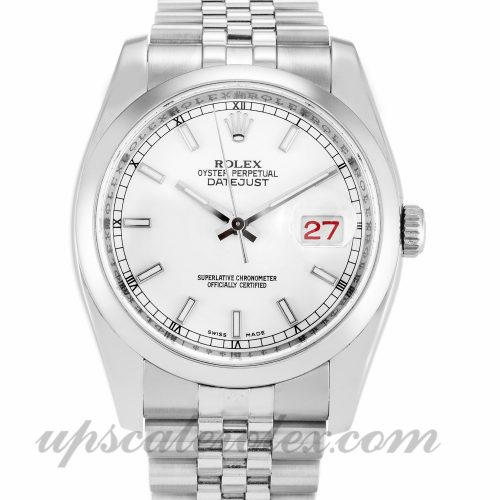 Mens Rolex Datejust 116200 36 MM Case Automatic Movement White Dial