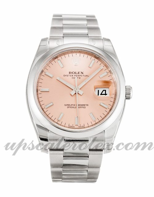 Unisex Rolex Oyster Perpetual Date 115200 34 MM Case Automatic Movement Salmon Dial