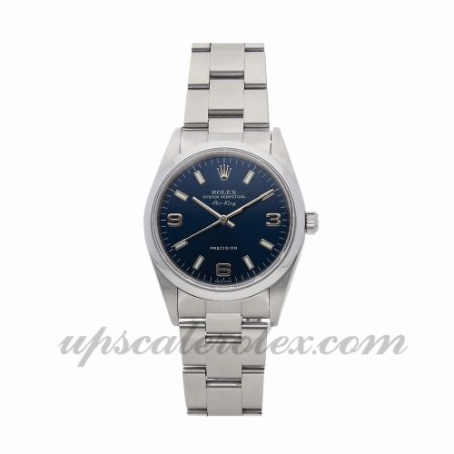 Ladies Rolex Air King 14000 34mm Case Mechanical (Automatic) Movement Blue Dial