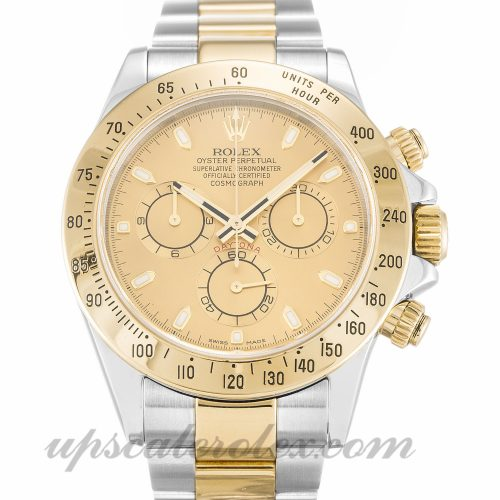Mens Rolex Daytona 116523 40 MM Case Automatic Movement Champagne Dial