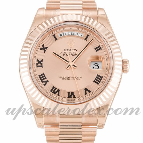 Mens Rolex Day-Date II 218235 41 MM Case Automatic Movement Rose Dial