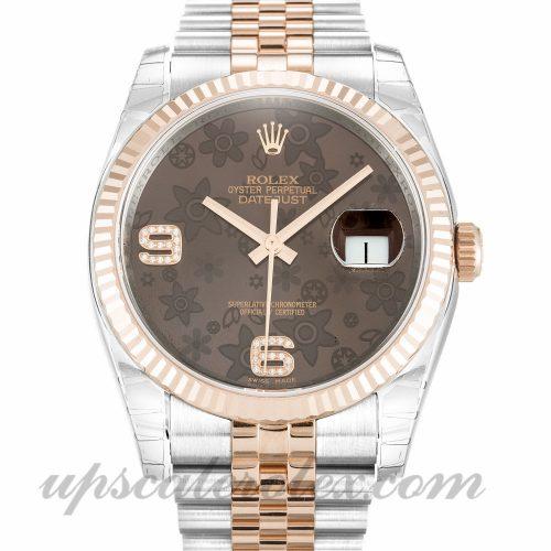 Unisex Rolex Datejust 116231 36 MM Case Automatic Movement Chocolate Floral Diamond Dial