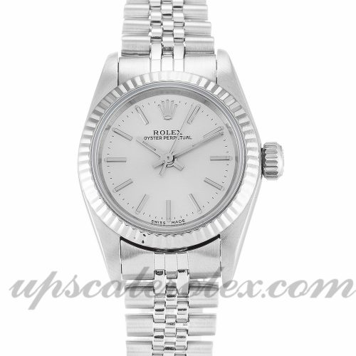 Ladies Rolex Lady Oyster Perpetual 67194 24 MM Case Automatic Movement Silver Dial