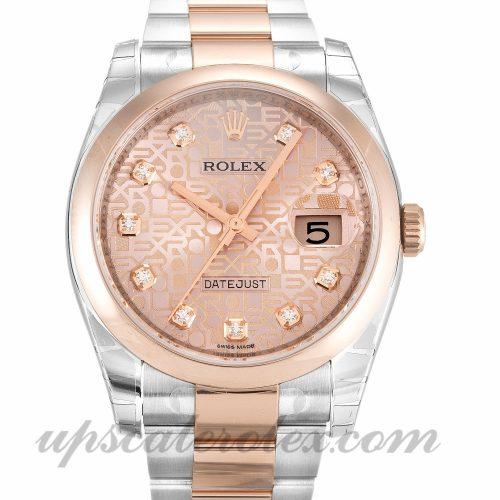 Mens Rolex Datejust 116201 36 MM Case Automatic Movement Rose Gold Diamond (Jubilee) Dial