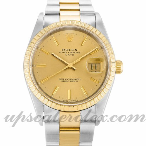 Unisex Rolex Oyster Perpetual Date 15223 34 MM Case Automatic Movement Champagne Dial