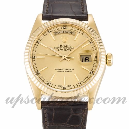 Unisex Rolex Day-Date 18038 36 MM Case Automatic Movement Champagne Dial