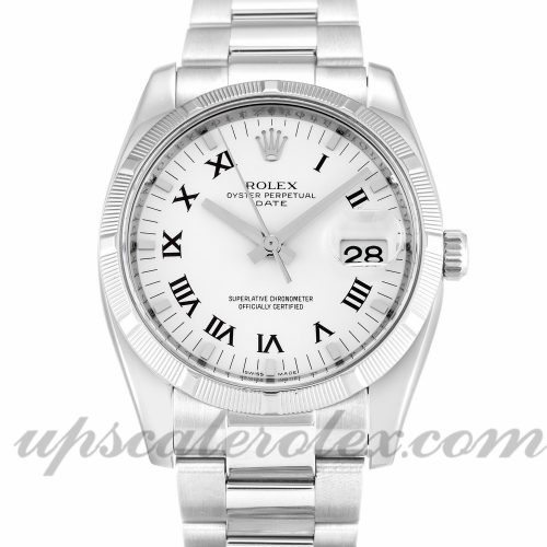 Unisex Rolex Oyster Perpetual Date 115210 34 MM Case Automatic Movement White Dial