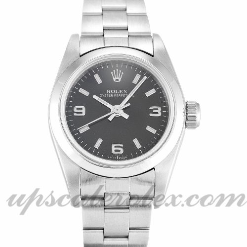 Ladies Rolex Lady Oyster Perpetual 67180 26 MM Case Automatic Movement Black Quarter Dial
