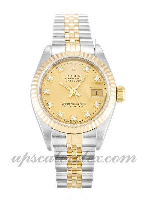 Ladies Rolex Datejust Lady 69173 26 MM Case Automatic Movement Champagne Diamond Dial