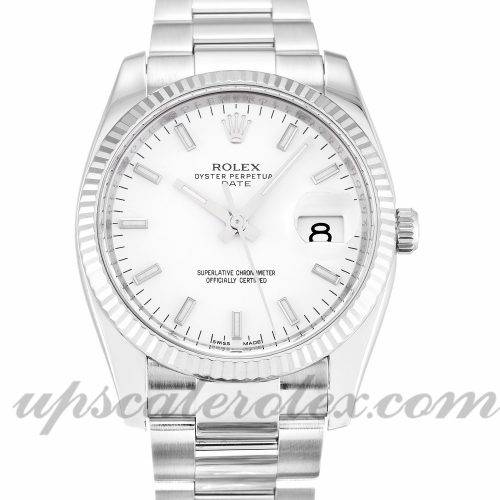 Unisex Rolex Oyster Perpetual Date 115234 34 MM Case Automatic Movement White Dial