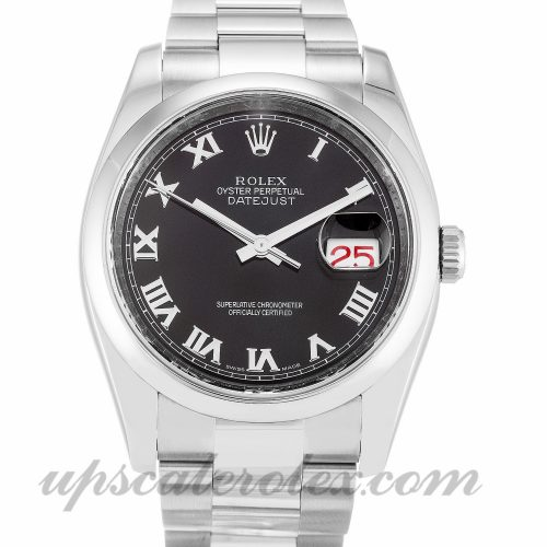 Mens Rolex Datejust 116200 36 MM Case Automatic Movement Black Dial