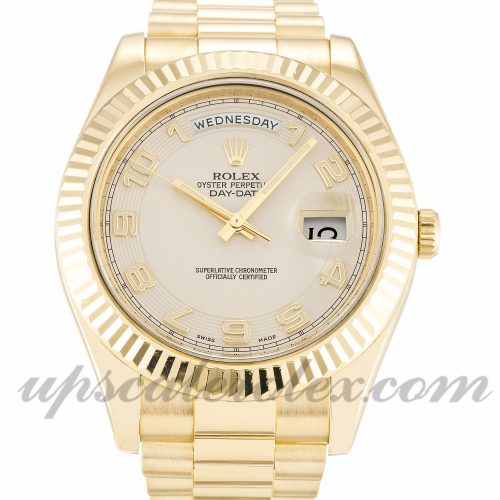 Mens Rolex Day-Date II 218238 41 MM Case Automatic Movement Ivory Dial