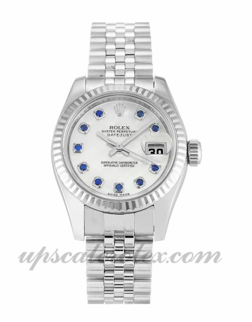 Ladies Rolex Datejust Lady 179174 26 MM Case Automatic Movement Mother Of Pearl - White & Sapphire Dial