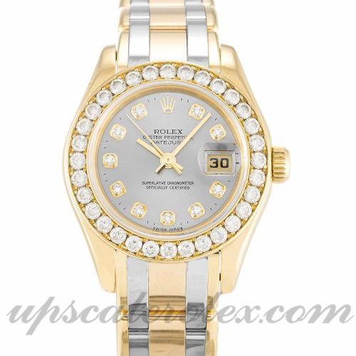 Ladies Rolex Pearlmaster 80298 29 MM Case Automatic Movement Champagne Diamond Dial