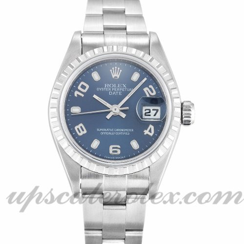 Ladies Rolex Lady Oyster Perpetual 79240 26 MM Case Automatic Movement Blue Quarter Dial