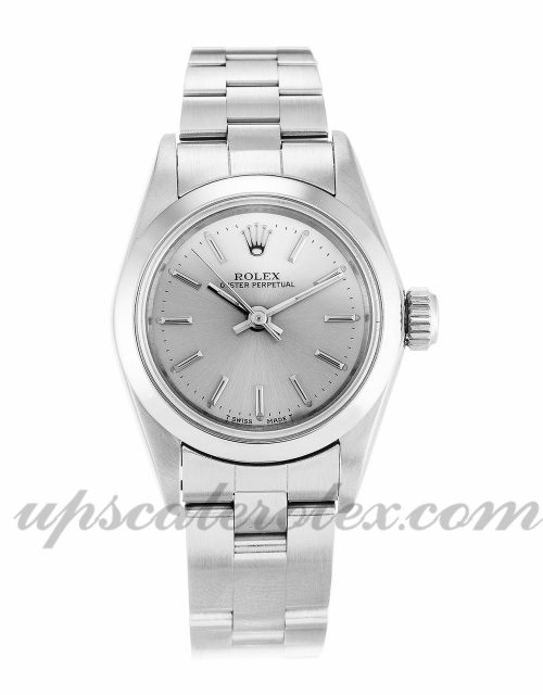 Ladies Rolex Lady Oyster Perpetual 67180 26 MM Case Automatic Movement Silver Dial